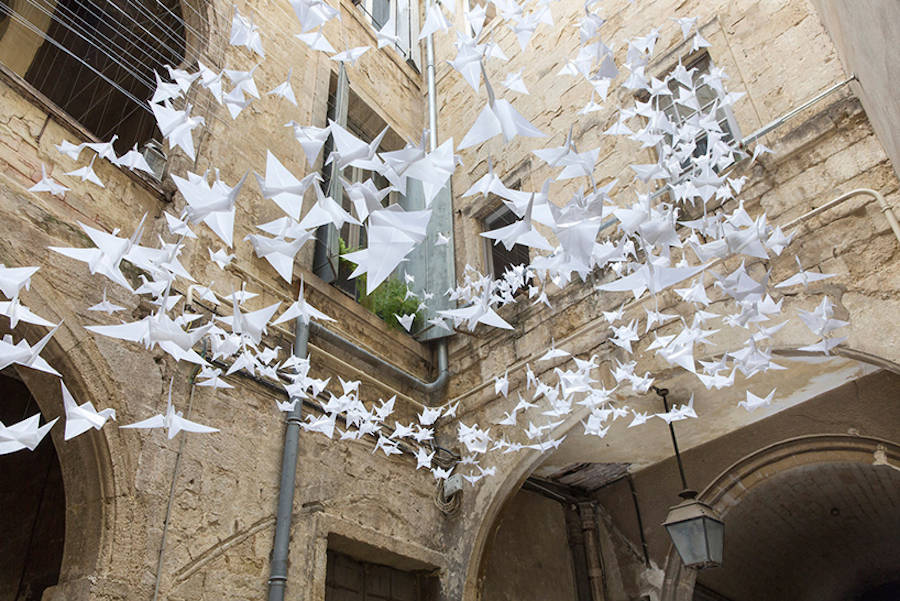 Origami Cranes Become Gorgeous Installation Art Boing Boing