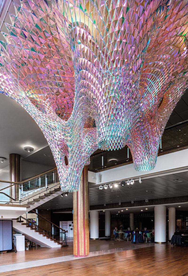 Vibrant mesh ceiling art installations