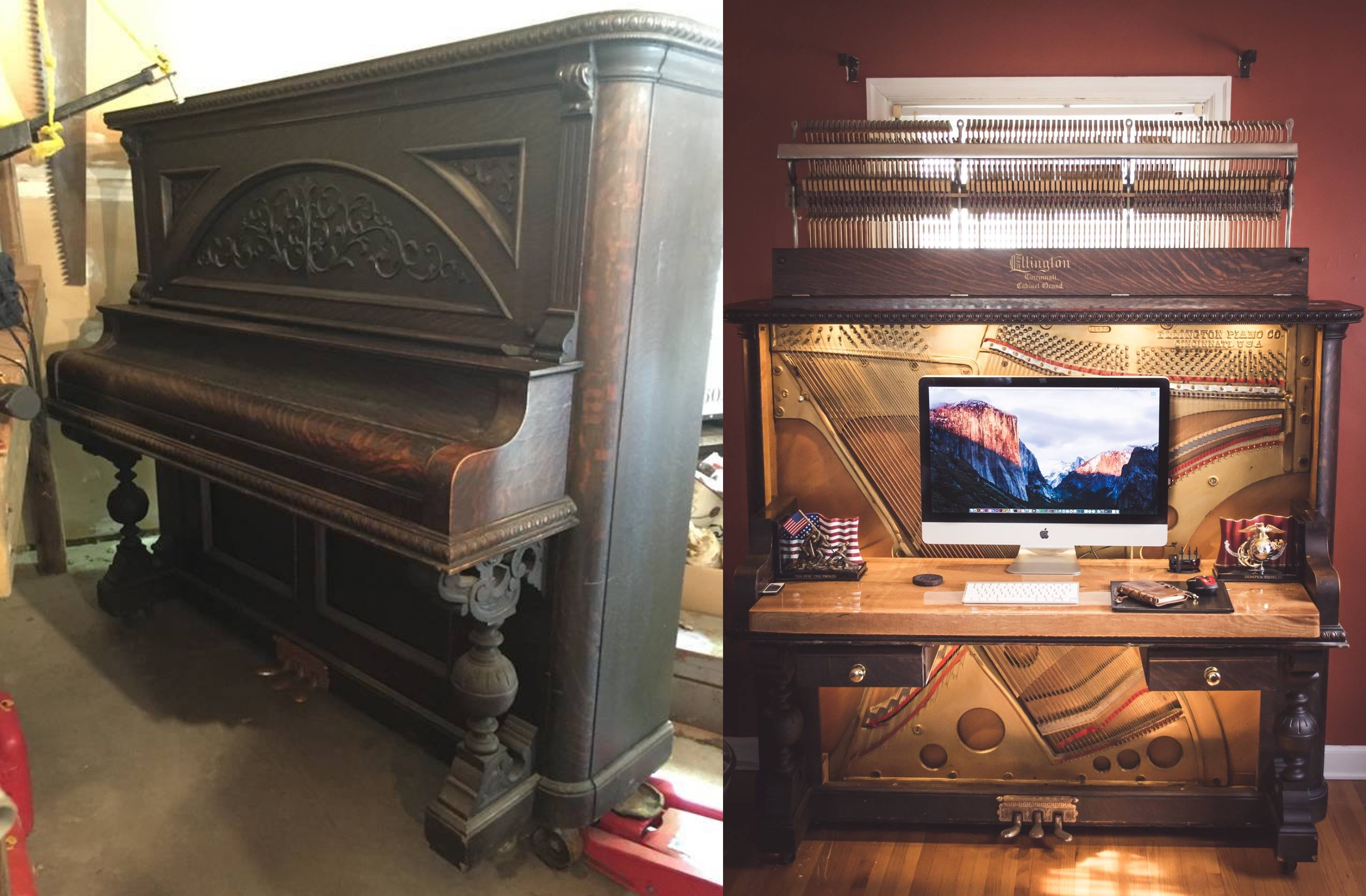 1907 Upright Piano Transformed Into Gorgeous Desk