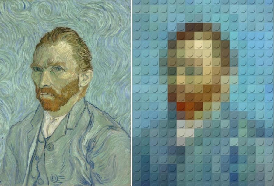 This LEGO riff on Van Gogh's famous self-portrait is a great optical illusion
