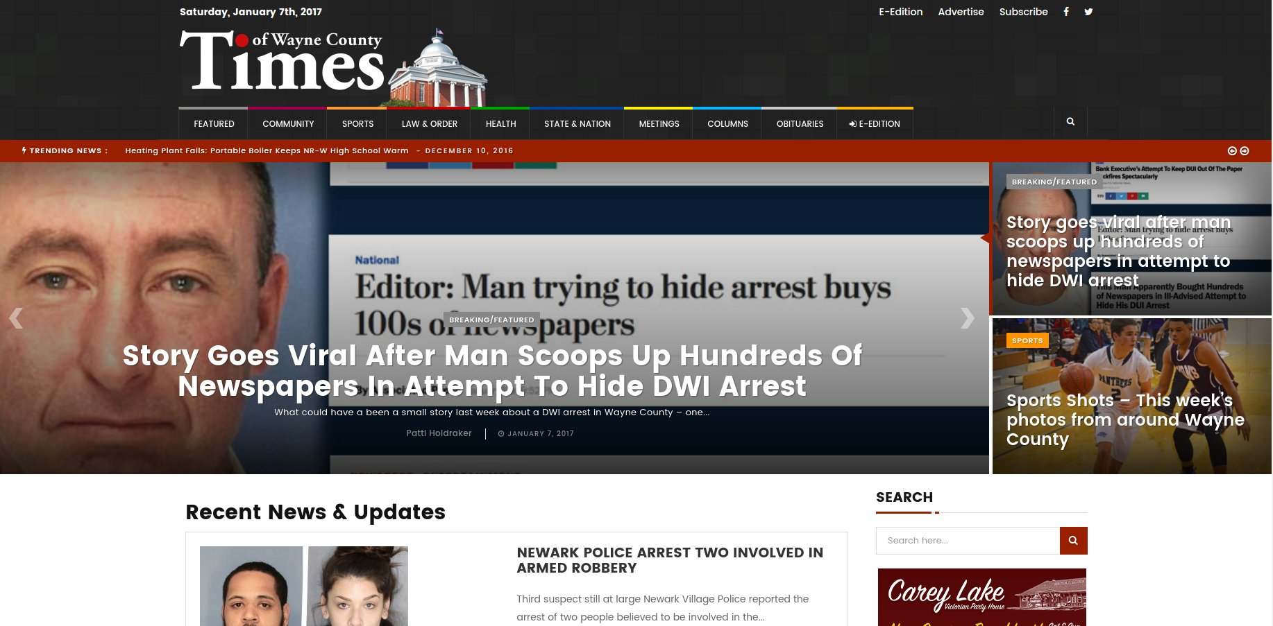 Wayne County, NY man tries to corner market on local newspaper when