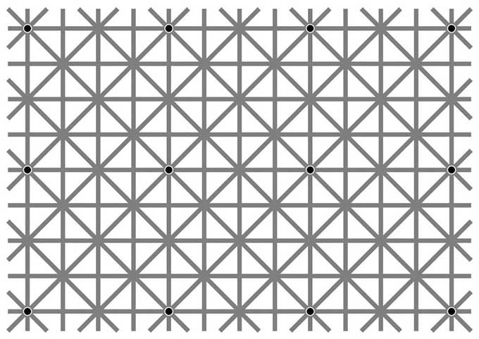 Optical illusion - can you see all 12 black dots at once?