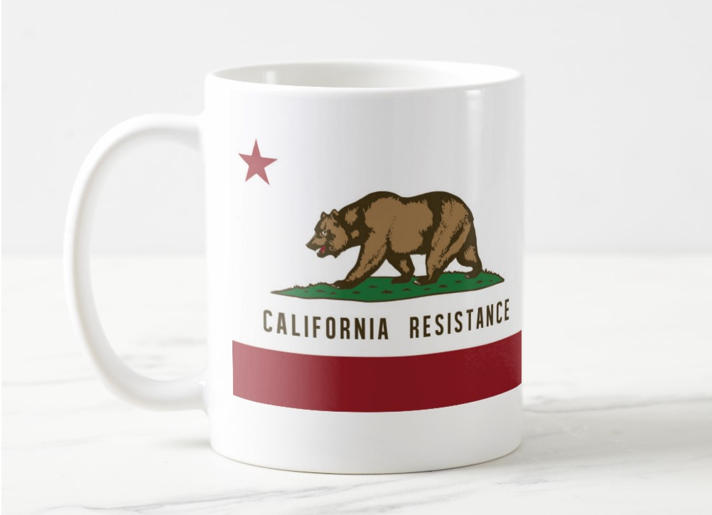 """California Resistance mugs with """"our own damned satellite"""" quote"""