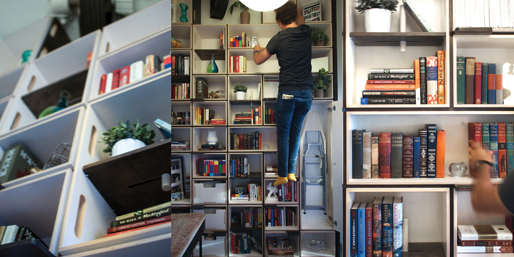 A climbable personal library in an old elevator shaft