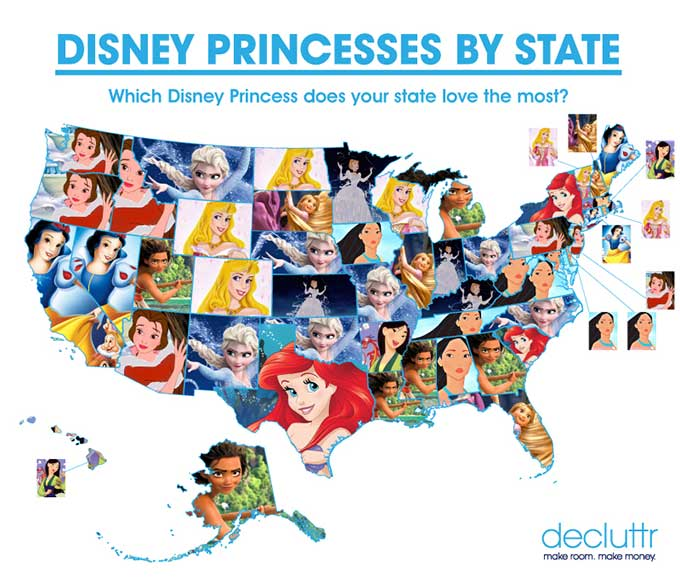 Map Of Favorite Disney Princesses By US State Boing Boing - Us state map