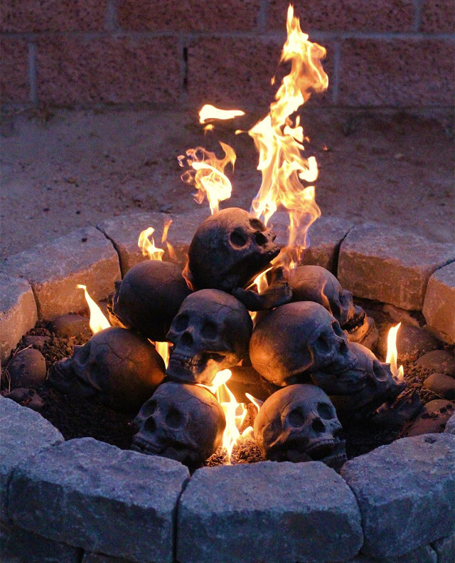 fireproof human skulls for your gas fireplace barbeque or firepit boing boing