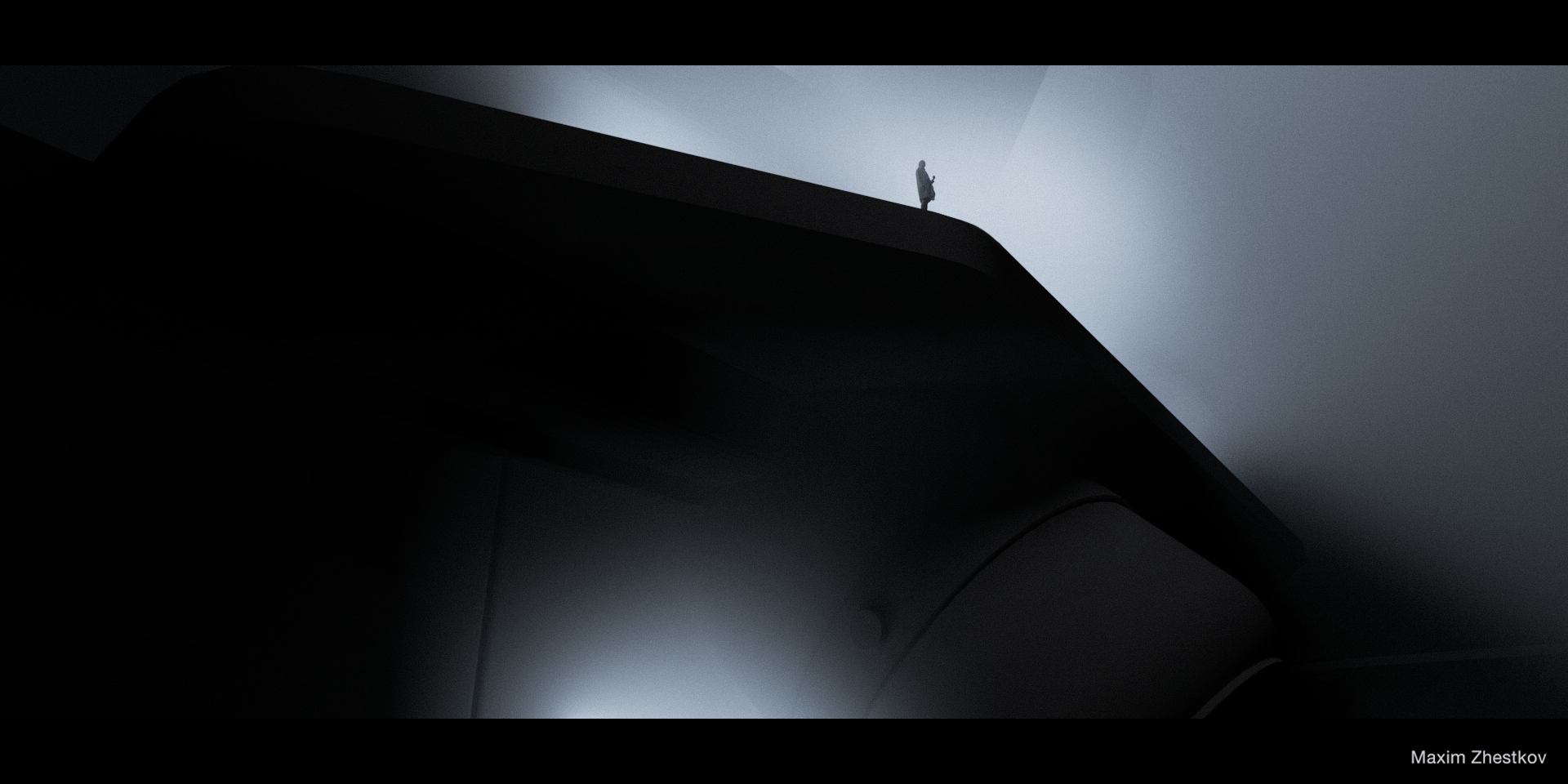illustrations depict future noir in brooding shapes and shadows