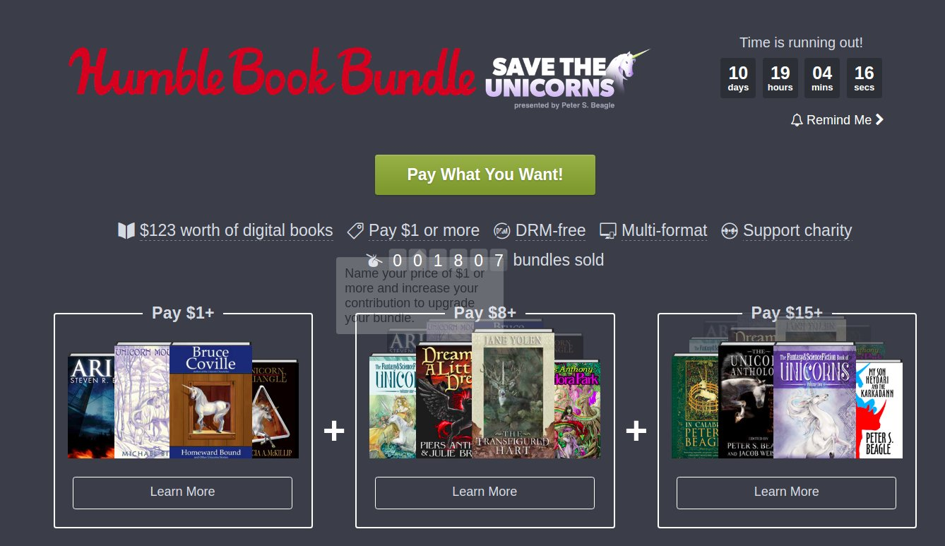 The Humble Unicorn Bundle, get great, DRM-free fantasy novels, support environmental causes