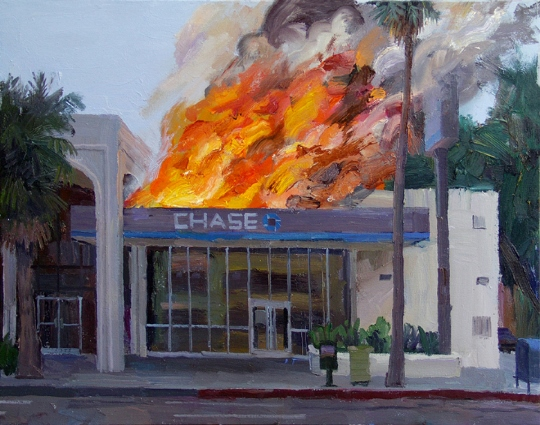 Artist specialized in paintings of Chase bank on fire / Boing Boing