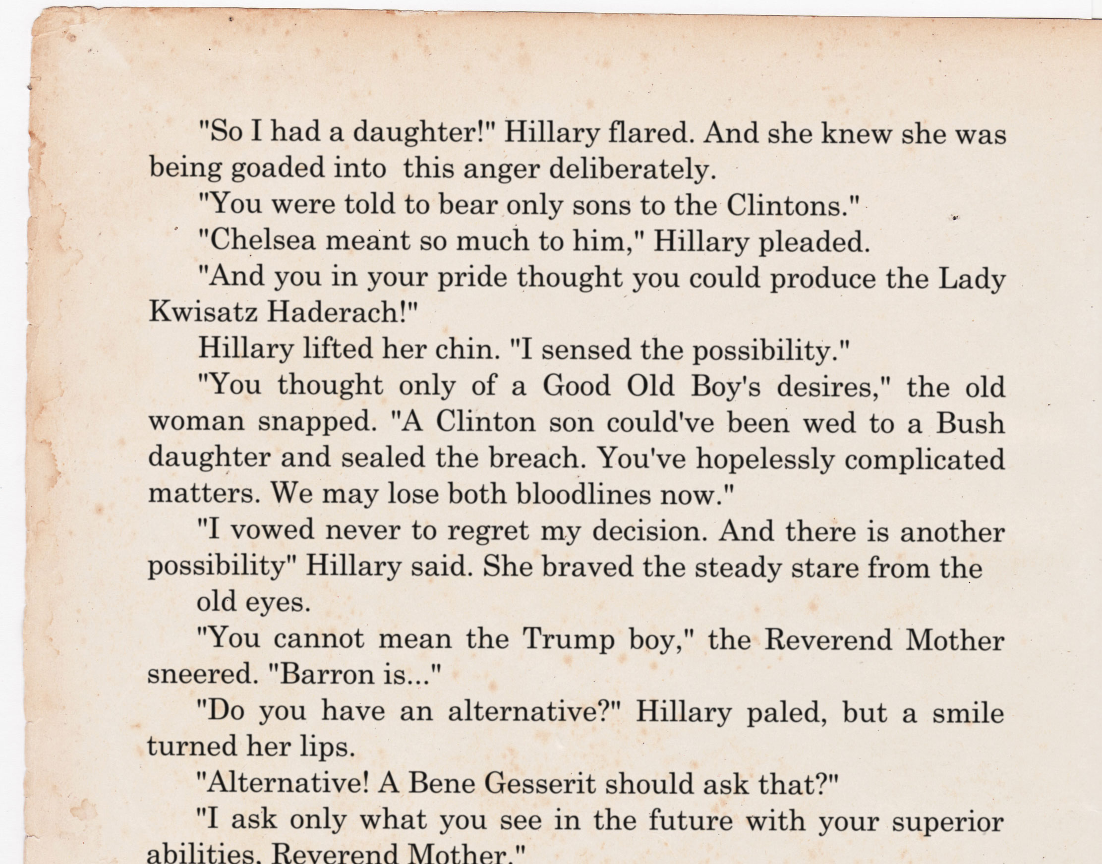 Already regretting assigning the Chelsea Clinton story to Frank Herbert