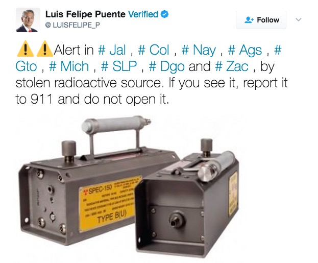 Mexico says vehicle carrying radioactive material stolen