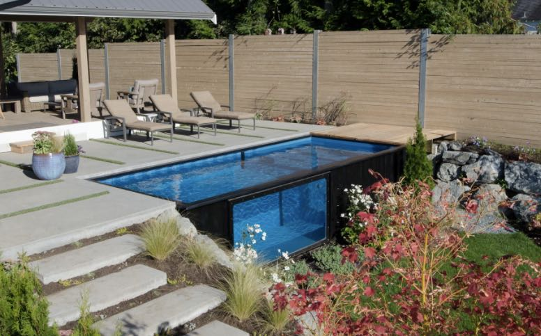 swimming pool in a shipping container boing boing. Black Bedroom Furniture Sets. Home Design Ideas