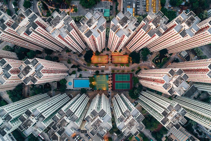 Claustrophobic overhead shots of Hong Kong residential buildings