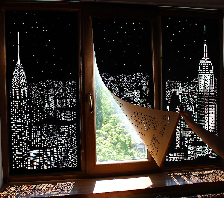 Blackout Curtains Perforated With Nighttime Scenes Boing