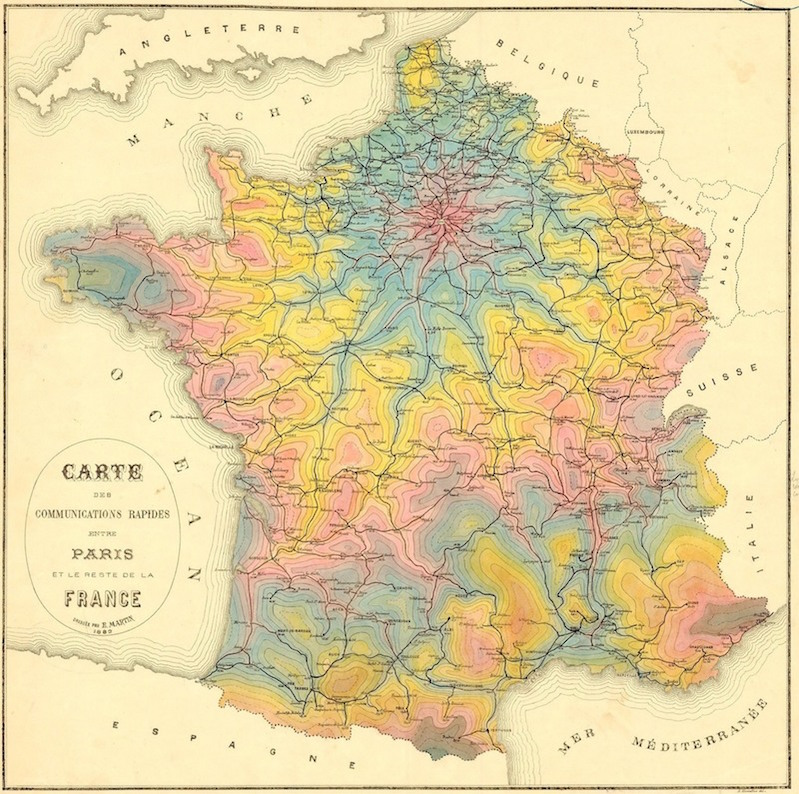 Vintage isochrone maps show 19th-century travel times / Boing Boing