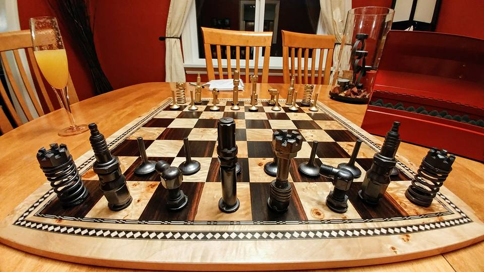 Chess set made from car parts