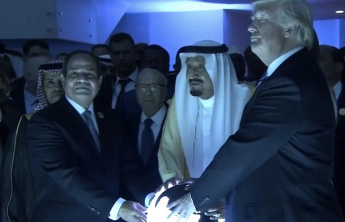 Trump lights up social media with glowing orb photo