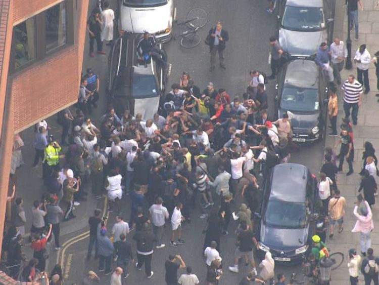 Protesters March To Downing Street After London Fire
