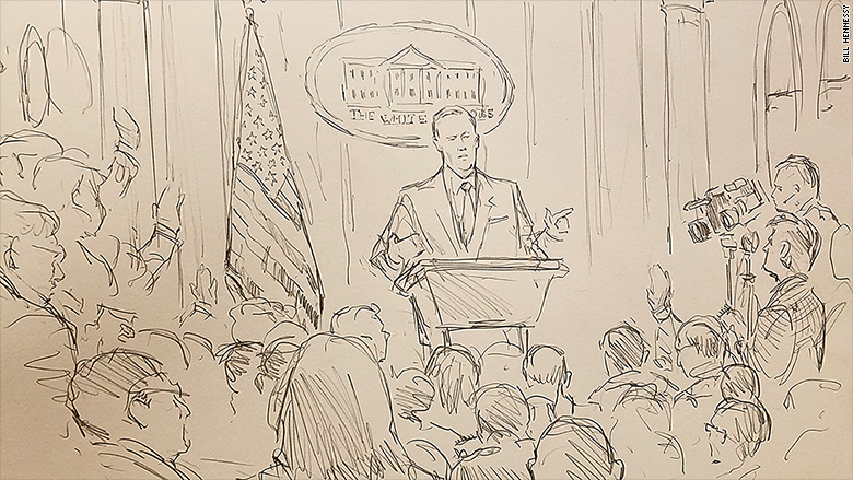 The White House is having off-camera briefings, so CNN sent their courtroom sketch artist in