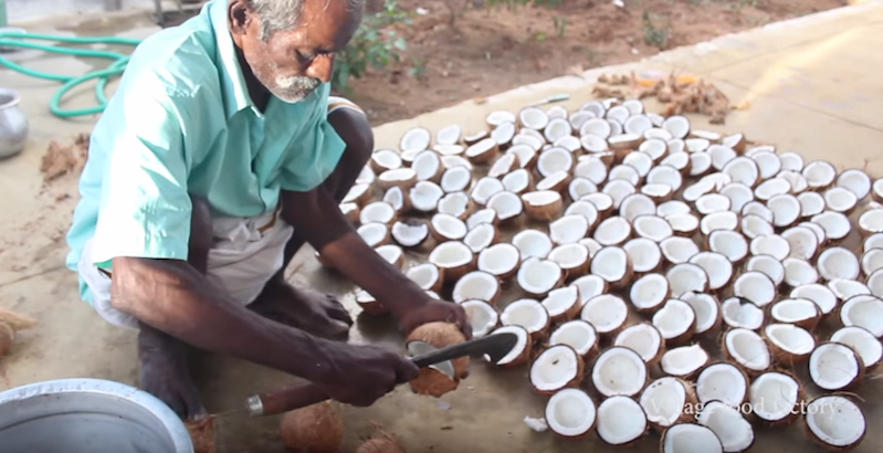 Watch experts hand-process 100 coconuts for oil