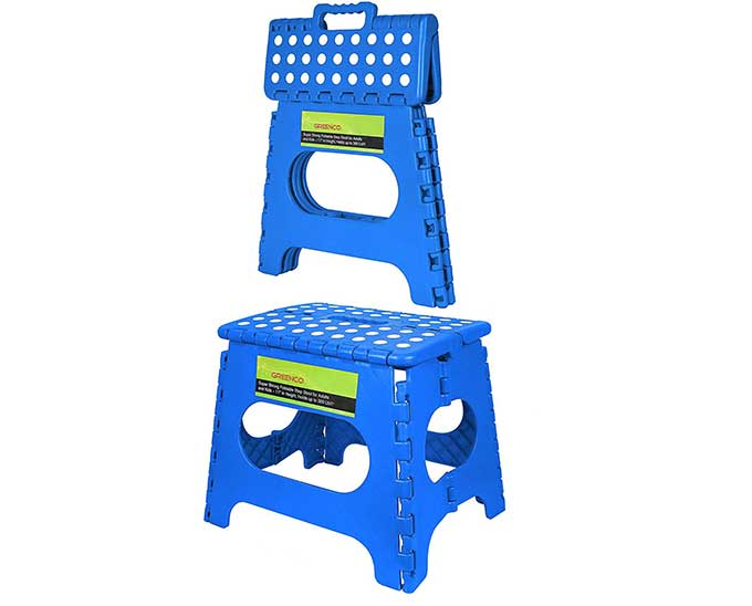 The cool step stool folds up