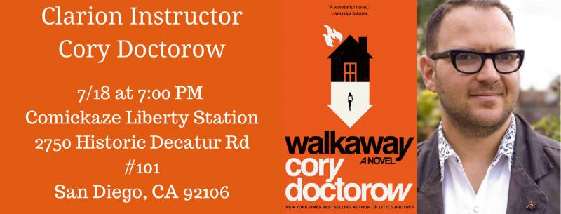 San Diego! Come hear me read from Walkaway tomorrow night at Comickaze Liberty Station!