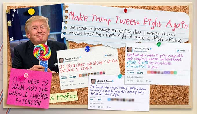 Chrome extension turns Trump's tweets into a child's crayon scrawls