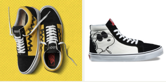 vans sneakers featuring the peanuts gang boing boing