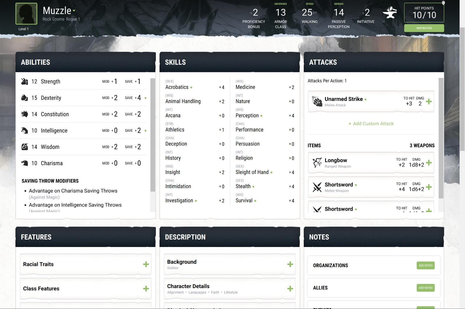 how to create a d&d character pdf