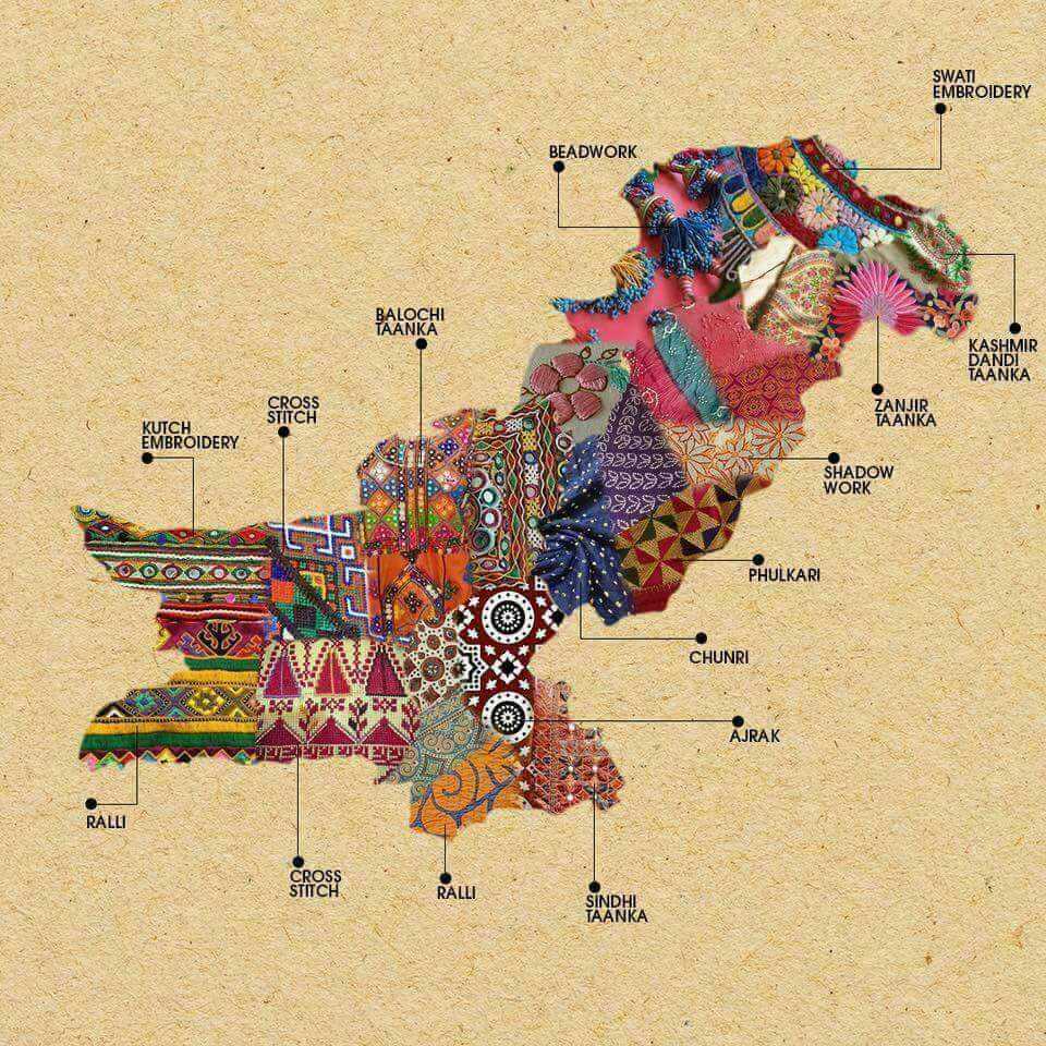 Map Of Local Embroidery Techniques In Pakistan Boing Boing - Map pakistan