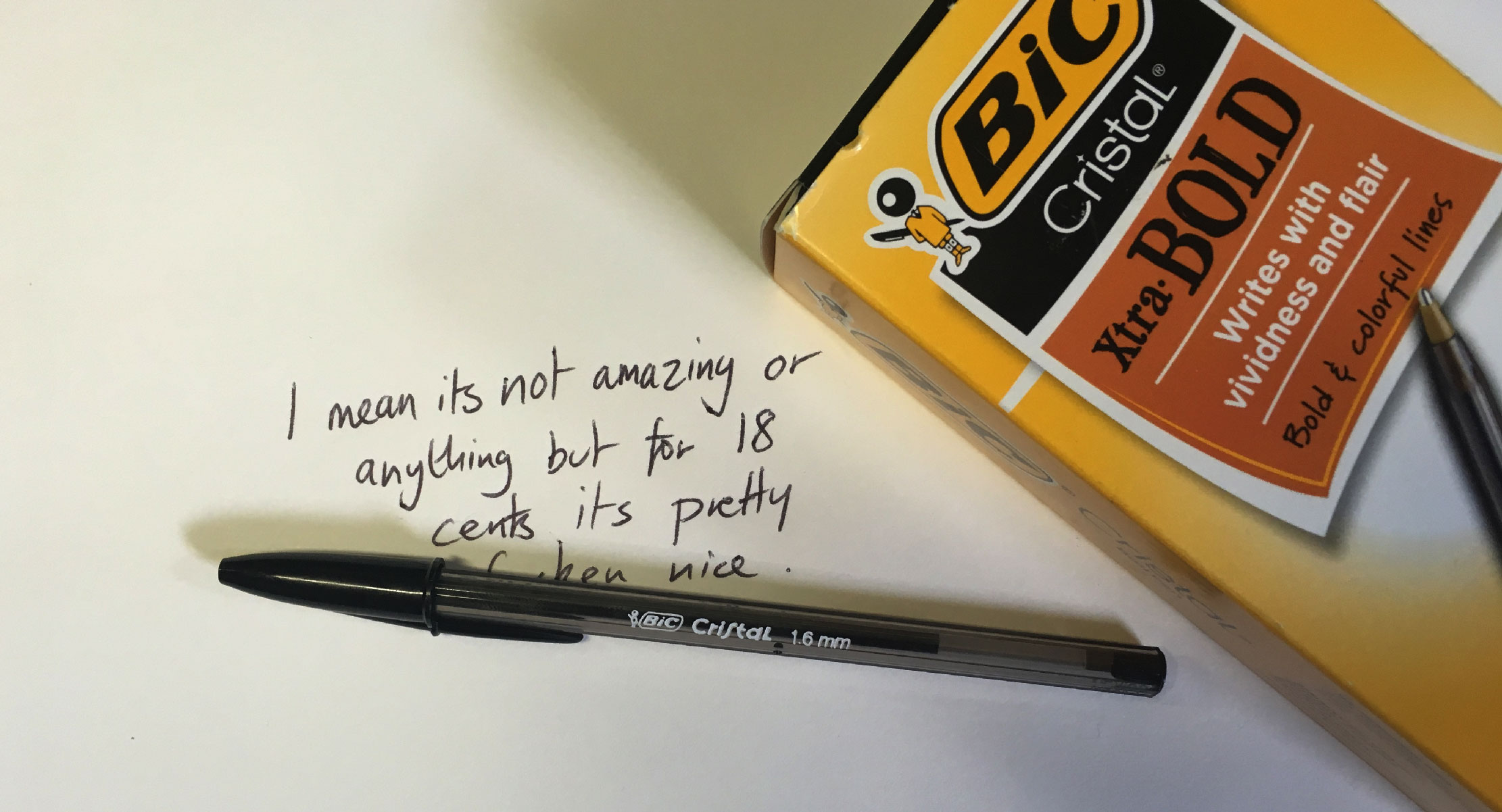I've always hated Bic's cheap Cristal ballpoint pens as much as I've wanted  to love them. An iconic example of 20th-century design genius, ...