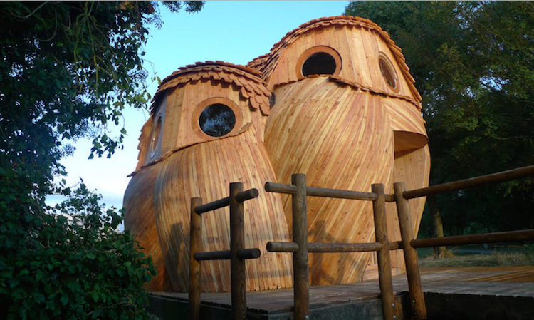 This cabin shaped like owls would be a hoot to rent