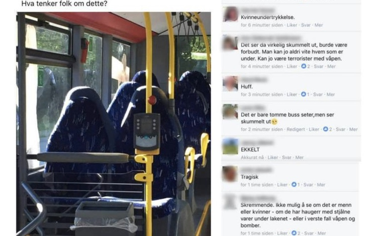 Racist Norwegians outraged over bus seats they mistook for women wearing burqas