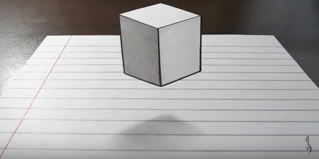 How to draw a levitating cube optical illusion