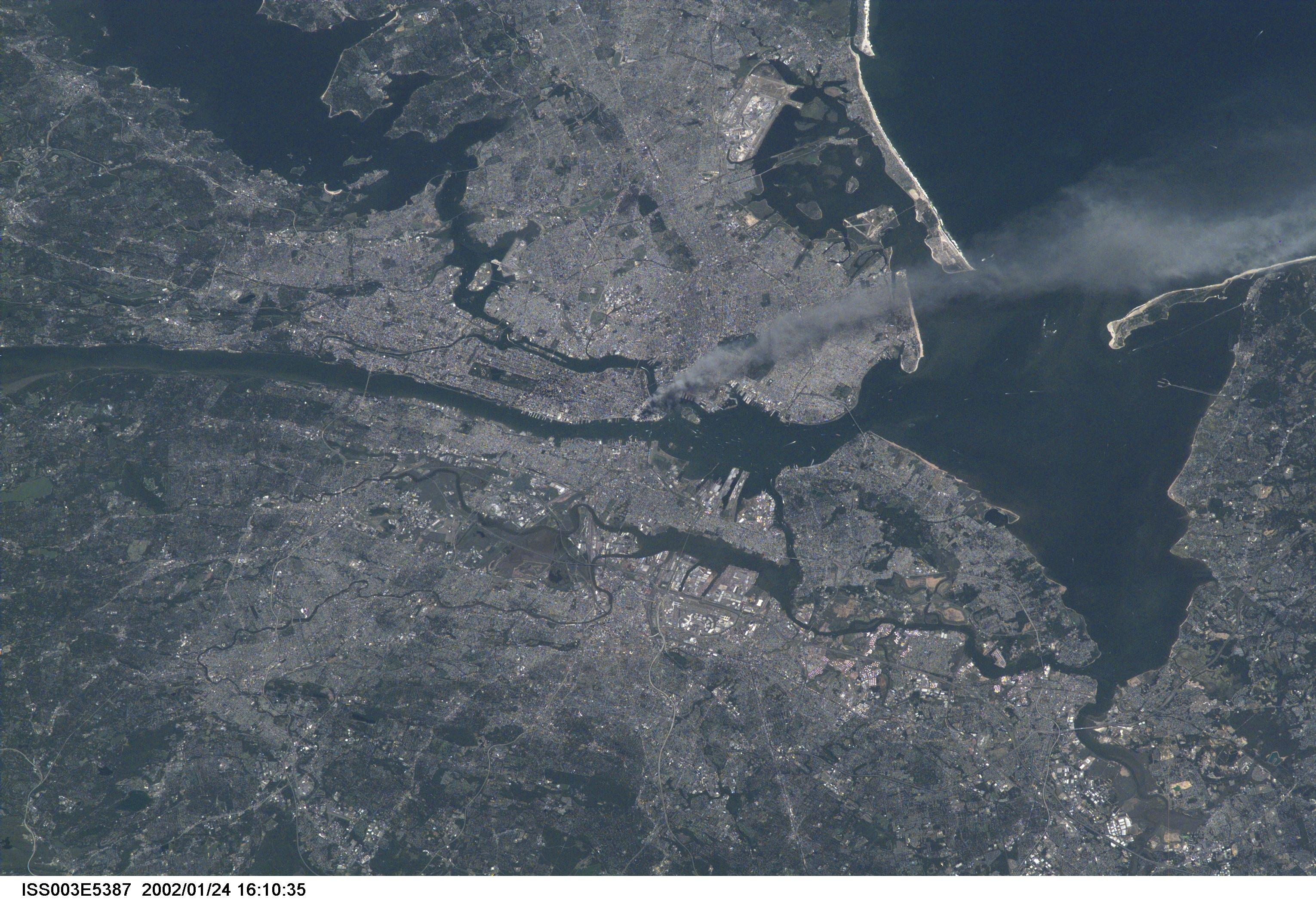 Photo of New York City from space on September 11, 2001