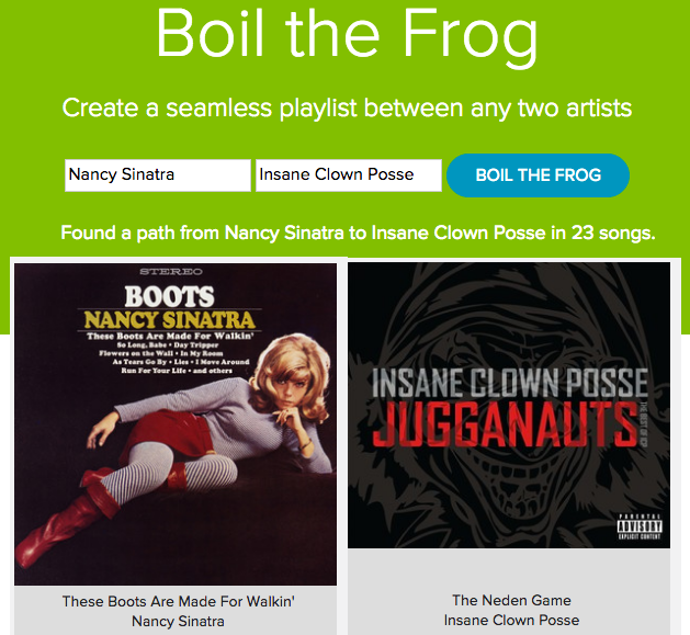 'Boil the Frog' creates a seamless playlist between any two musical artists