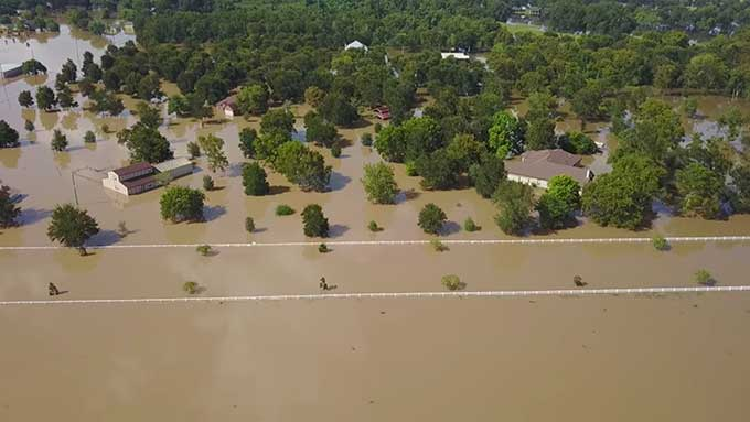 Drone footage of one small part of a Texas-sized flood