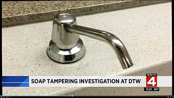 What is the very disgusting bodily fluid in Detroit airport soap dispensers? Cops and officials won't say
