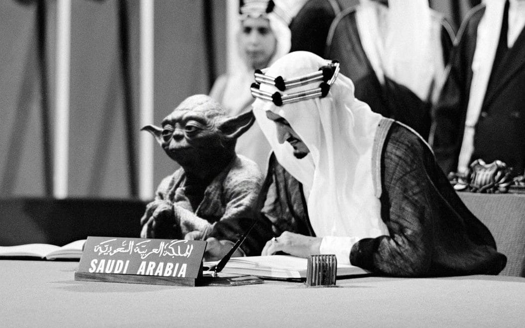 Saudi history textbook features photo of King Faisal chilling with Yoda