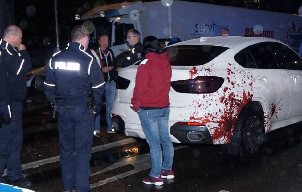 German police spotting a car that appeared to have been in a horrifying collision pulled over the driver for a chat but the enormous blood spatter was