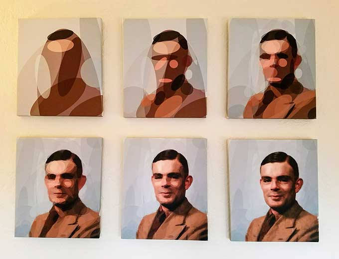 Portrait of Alan Turing algorithmically approximated by ellipses, in six panels