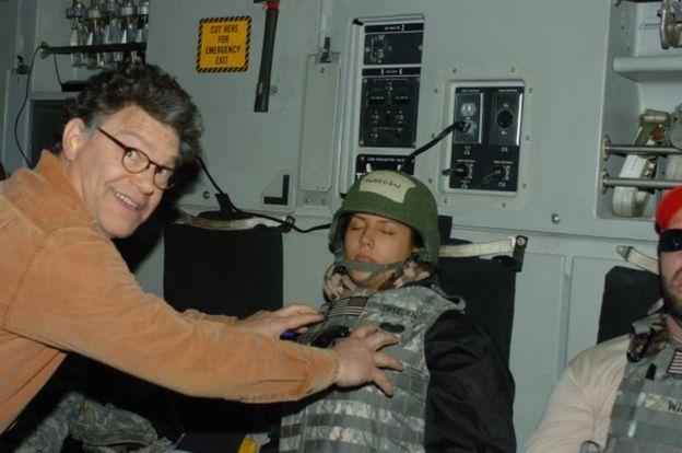 Image result for al franken groping soldier