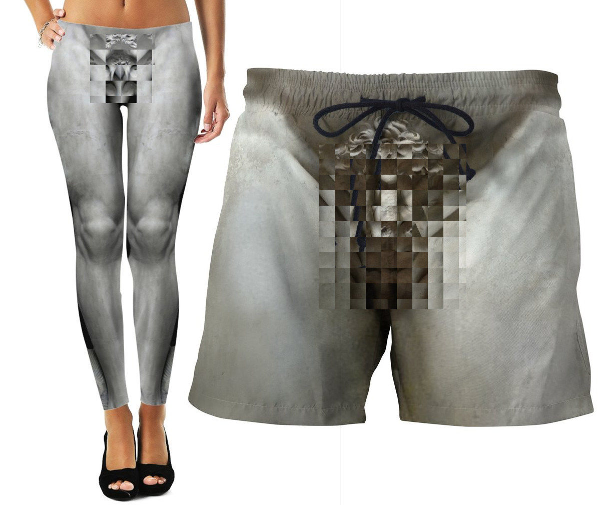 Optical illusion tights and swim shorts give you the junk of Michaelangelo's David