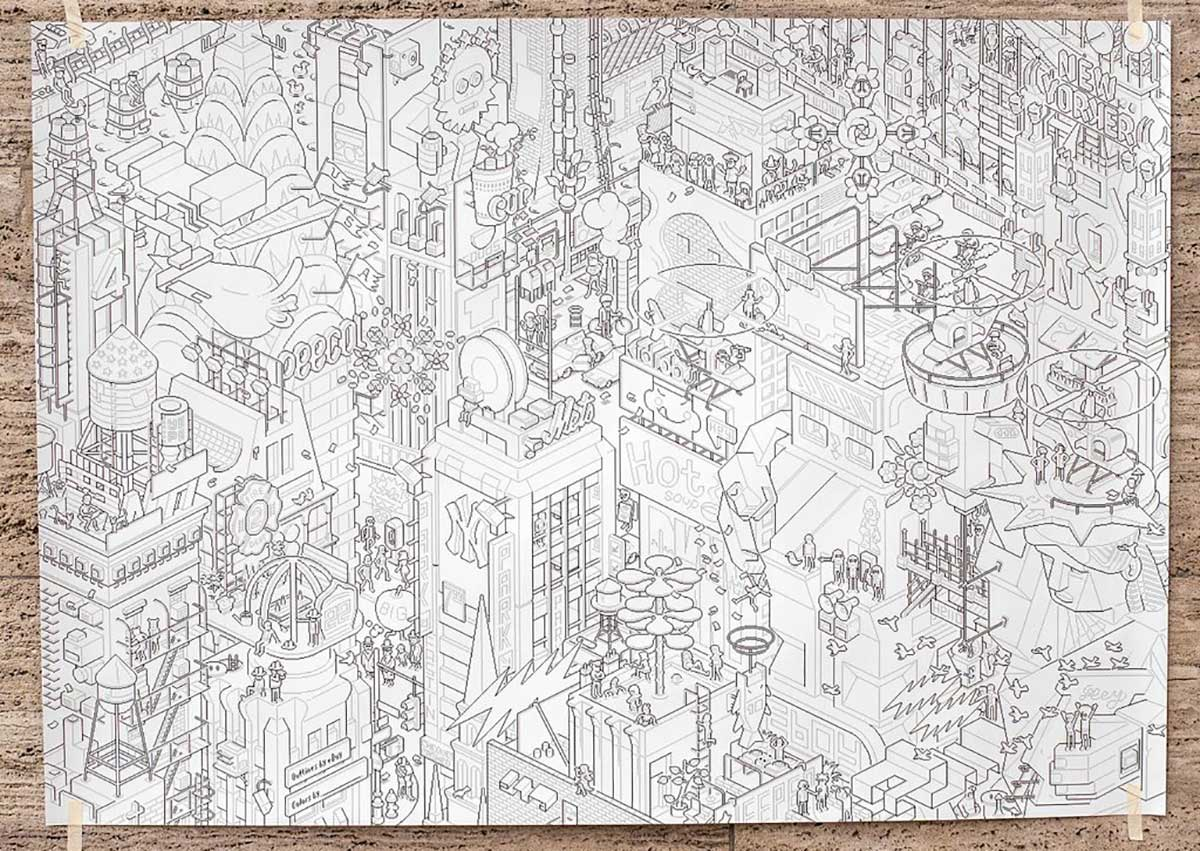 Giant Coloring Book Of New York City By EBoy
