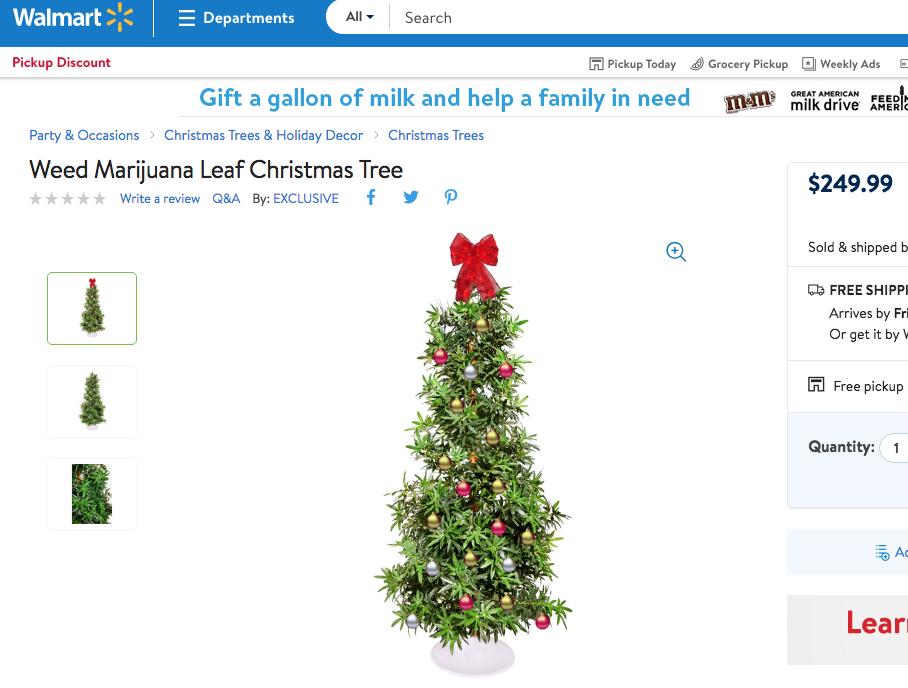 walmartcom has weed marijuana leaf christmas trees boing boing - Walmart Christmas Decorations 2017