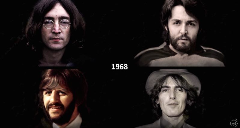 Watch The Beatles age together from 1960 through 2017