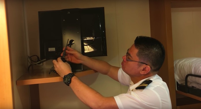 Hidden camera pointing at a bed found in a passenger\'s room ...