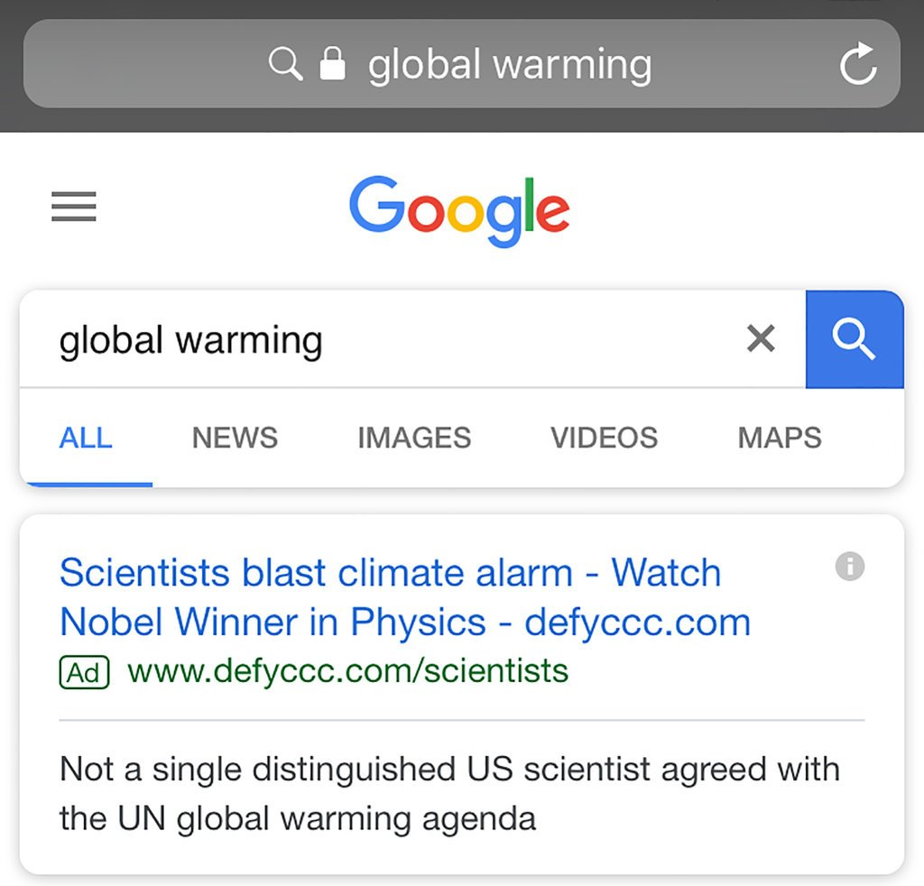 Google Search: Climate Deniers Beat Google And Topped The Page On
