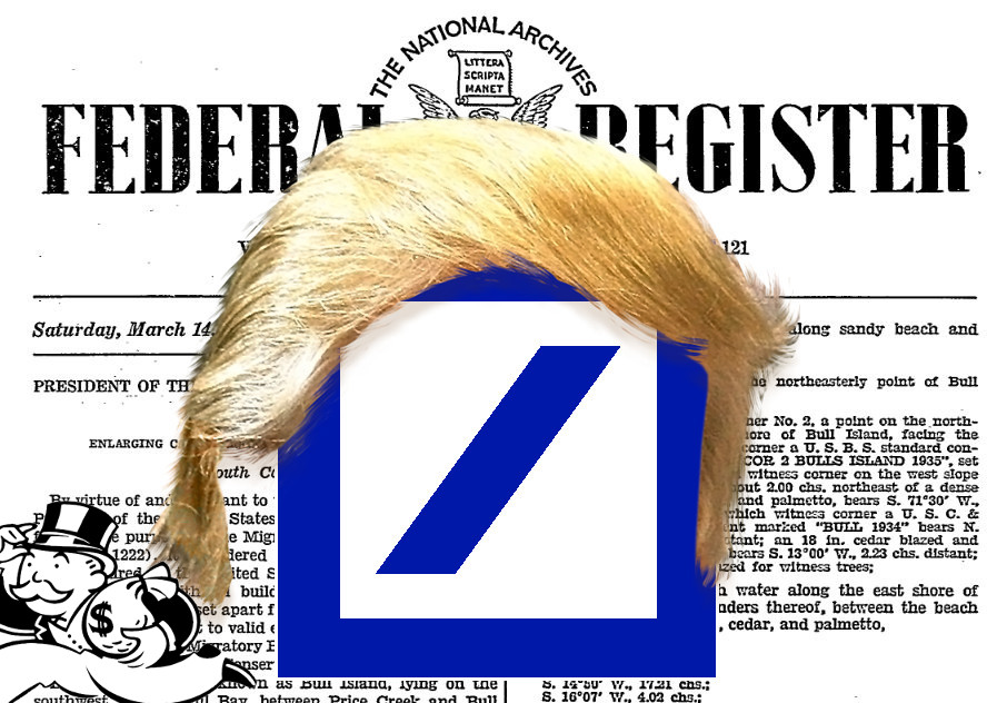 Trump waives criminal punishments for convicted banks, including Deutsche Bank, to whom he owes $130,000,000-$300,000,000