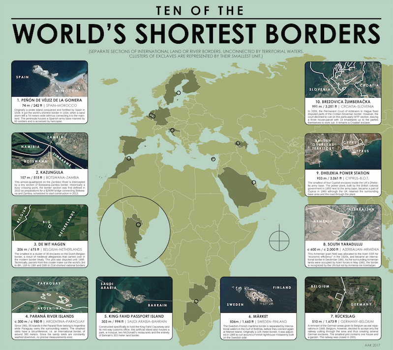Full Map Of Spain.Gorgeous Map Of Ten Of The World S Shortest Borders Boing Boing